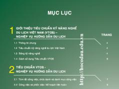 Tài liệu tiêu chuẩn nghề du lịch Việt Nam