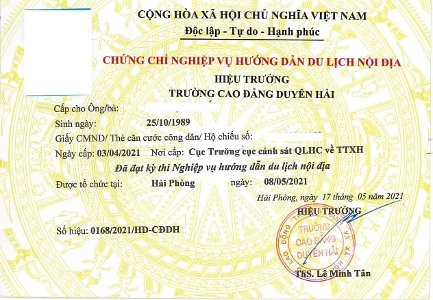 chứng chỉ nghiệp vụ hướng dẫn du lịch nội địa