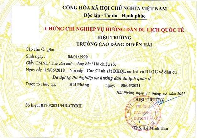 chứng chỉ nghiệp vụ hướng dẫn du lịch quốc tế